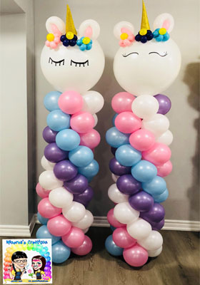 unicorn balloon columns for a themed party
